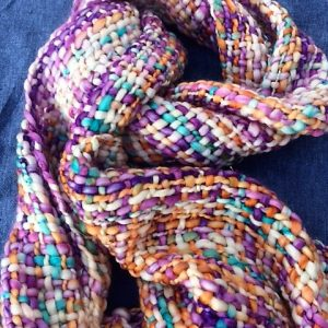 Stunning Cream And Purple Handwoven Fairtrade Chunky Scarf. Soft And Warm.