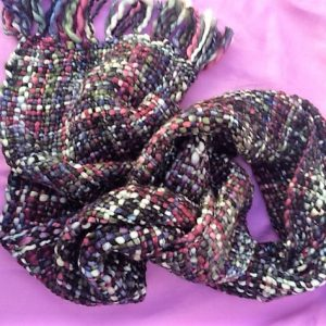 Stunning Marron And Green Handwoven Fairtrade Chunky Scarf. Soft And Warm.