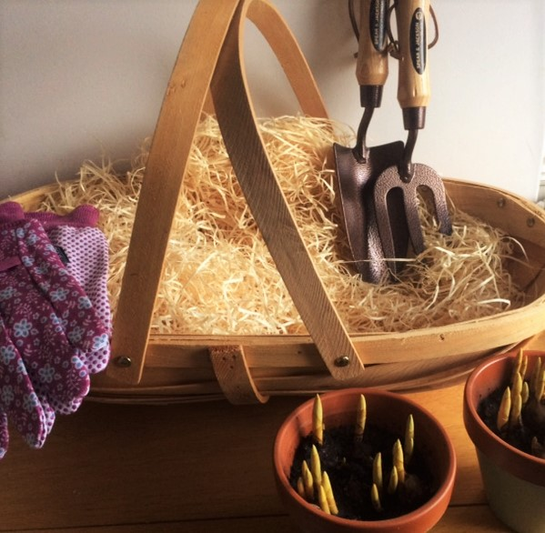 Unique Gardening Trug. Ideal Gift For The Gardening Lover. We Have Included High Standard Tools, A Trowel And Spade, Two Hand Painted Pots And Pretty Gardening Gloves. A Perfect Present!