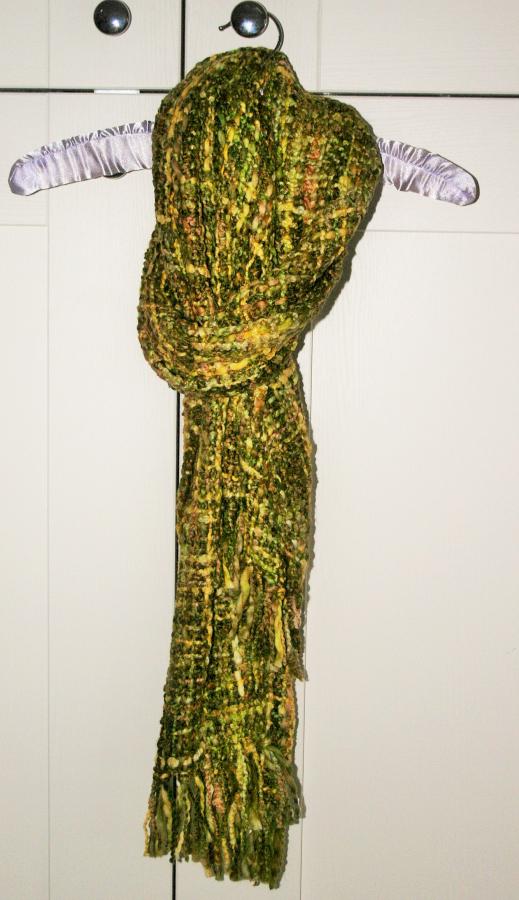 Stunning Handmade Chunky Scarf In Lime /green. Fairtrade And Handmade