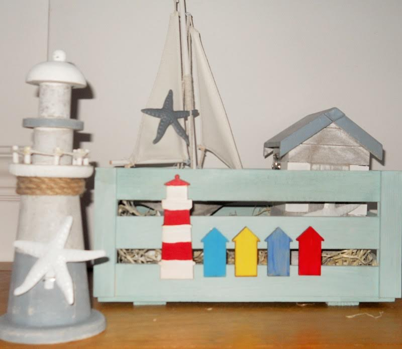 Nautical Box With Lighthouse & Beach Huts