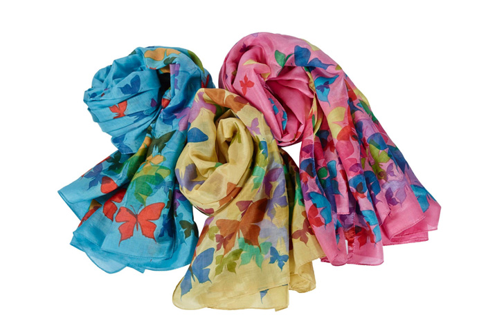 Cotton Flutter Butterfly Scarf. Size 75 Cms X 150 Cms. Great Value.