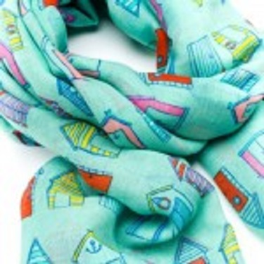 Beautiful Beach Hut Scarf. Lovely Summer scarves with rows of different designed beach huts with feathered edge. Size 97cm by 180cm Can be worn as a scarf or a wrap Soft printed poly fabric