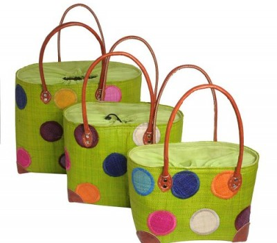 Lime Green Spotty Madaraff Basket with free postage. Ideal for your holiday.
