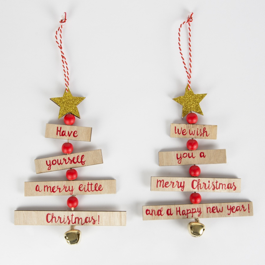 Christmas Wishes Tree Decoration Red & Gold