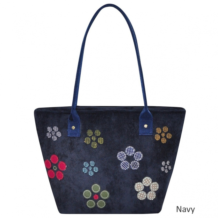 Unusual Cord Blue Tote Bag With Embroidered And Appliqued Design,the Long Webbing Handles Allow The Bag To Sit Neatly Under Your Arm, Perfect For Everyday Use With Full Zip Closure And External Zipped Pocket.