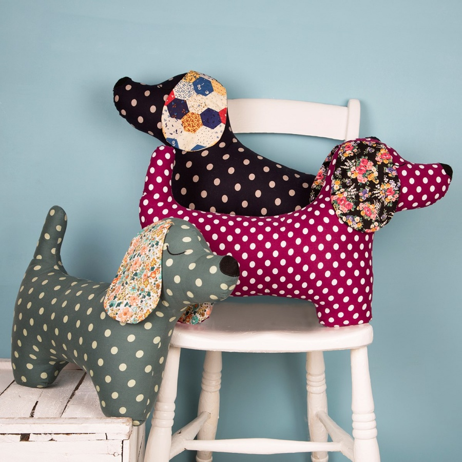 Duchshund Cushion With Polka Dot Spots.