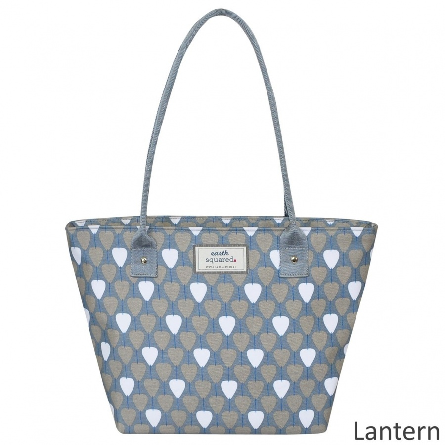 Unusual Oil Cloth Grey Lantern Tote Bag. DIMENSIONS 37 X 25 X 15cm – Strap 57cm