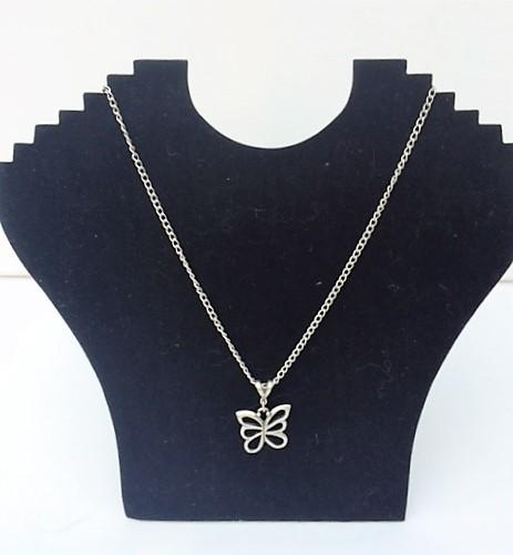 Beautiful Treaty Butterfly Pendant On A 45cm Chain In Matt Silver Plate