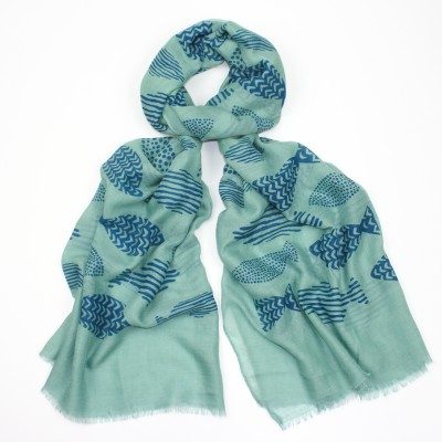 Green Pattened Fish Scarf