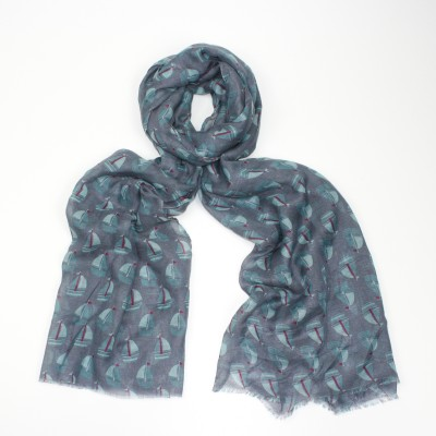 Sail Boats Grey Scarf