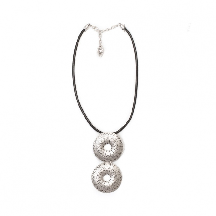 Beautiful Rowena Two Disc Necklace . Leather And Sterling Silver. Treaty Jewellery