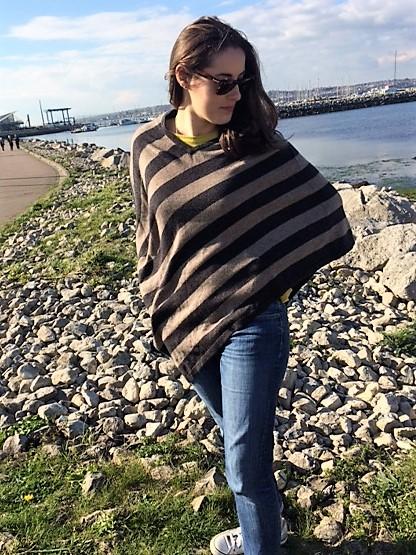 Soft Stripy Cashmere Poncho