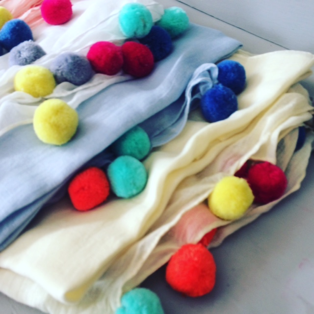 Fun And Funky Pom Pom Scarves. Lovely Summer Colours