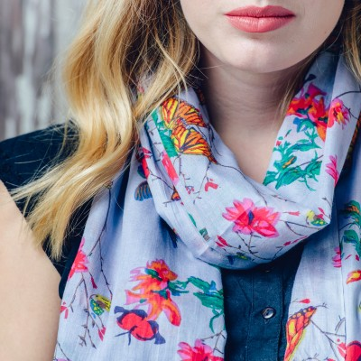 Summer Cotton Scarf.A Beautiful Spring Floral, Butterfly Design Printed On Lovely Soft Organic Cotton. Size 180cm X 100 Cm Material 100% Organic Cotton. Can Be Used As A Wrap Or Scarf.
