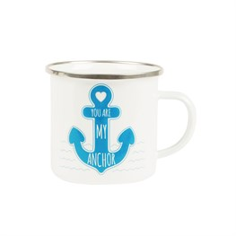 Nautical 'you Are My Anchor' Enamel Mug.