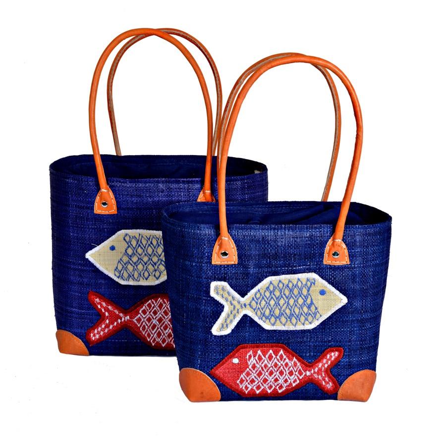 Fabulous Fish Embroidered Blue Raffia Basket