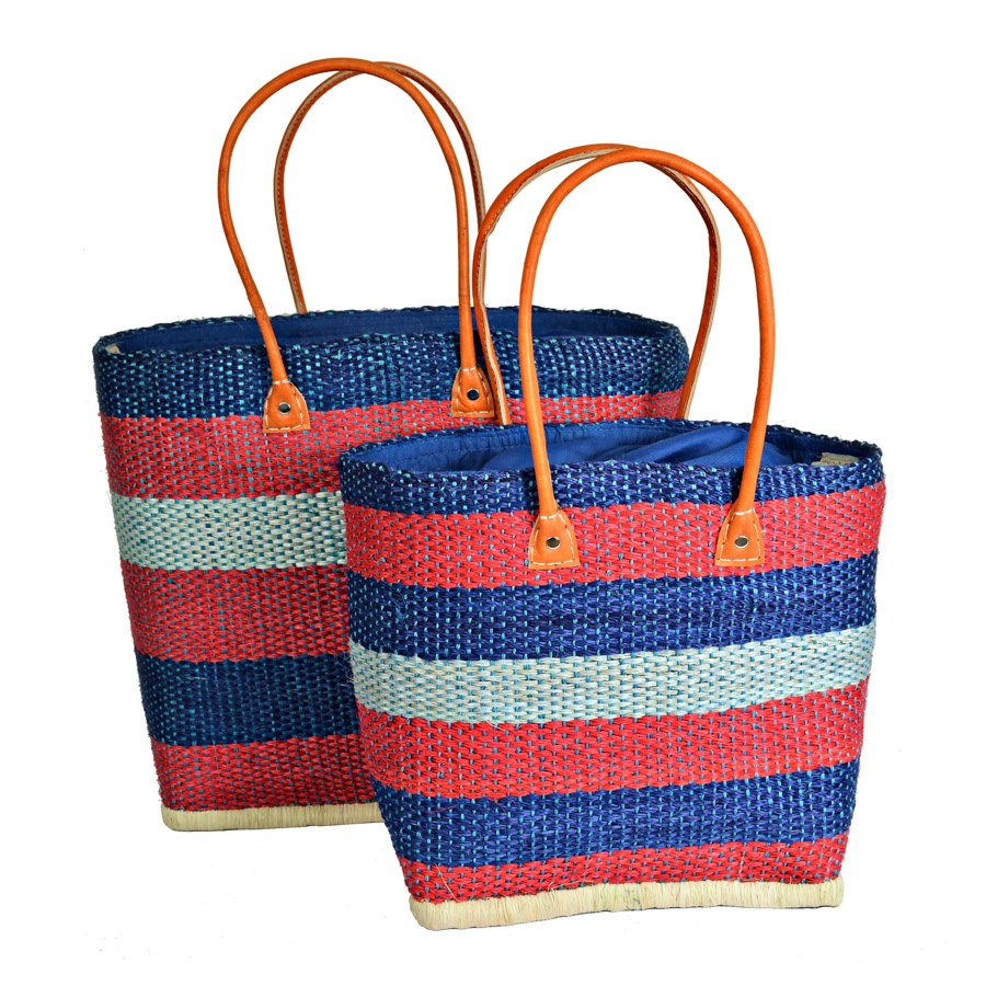 Madaraff Sisal Deckchair Blue Stripe Bag