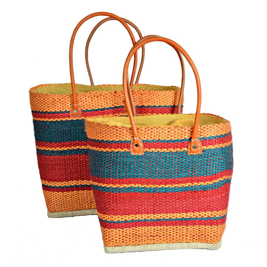 Madaraff Sisal Deckchair Orange Stripe Basket