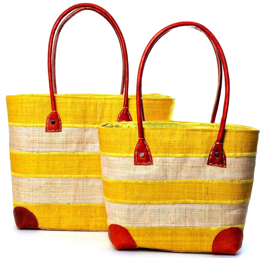 Madraff Bags – Yellow And White Stripe Basket
