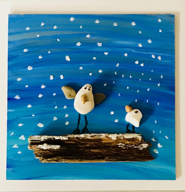 Sammy The Seagull And Baby Snowy Pebble Art Scene, A Unique Gift