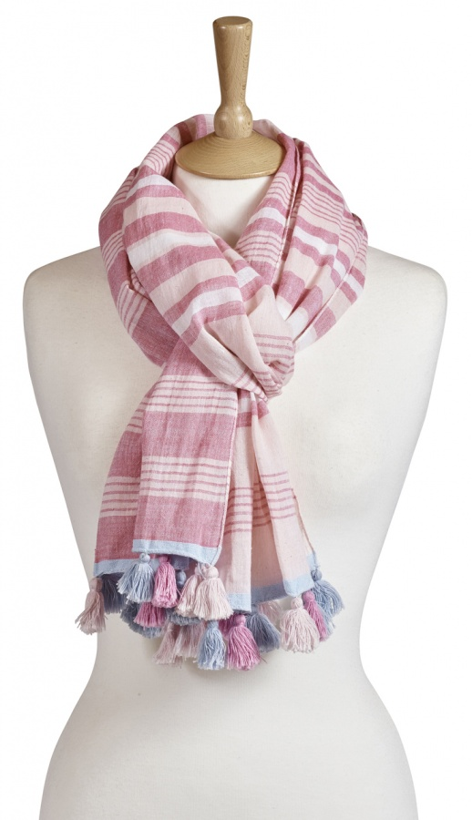 Beautiful Tasselled Scarf In Pink And White Stripes. We Love This! Material: 100% Cotton Dimensions: 50cm X 180cm