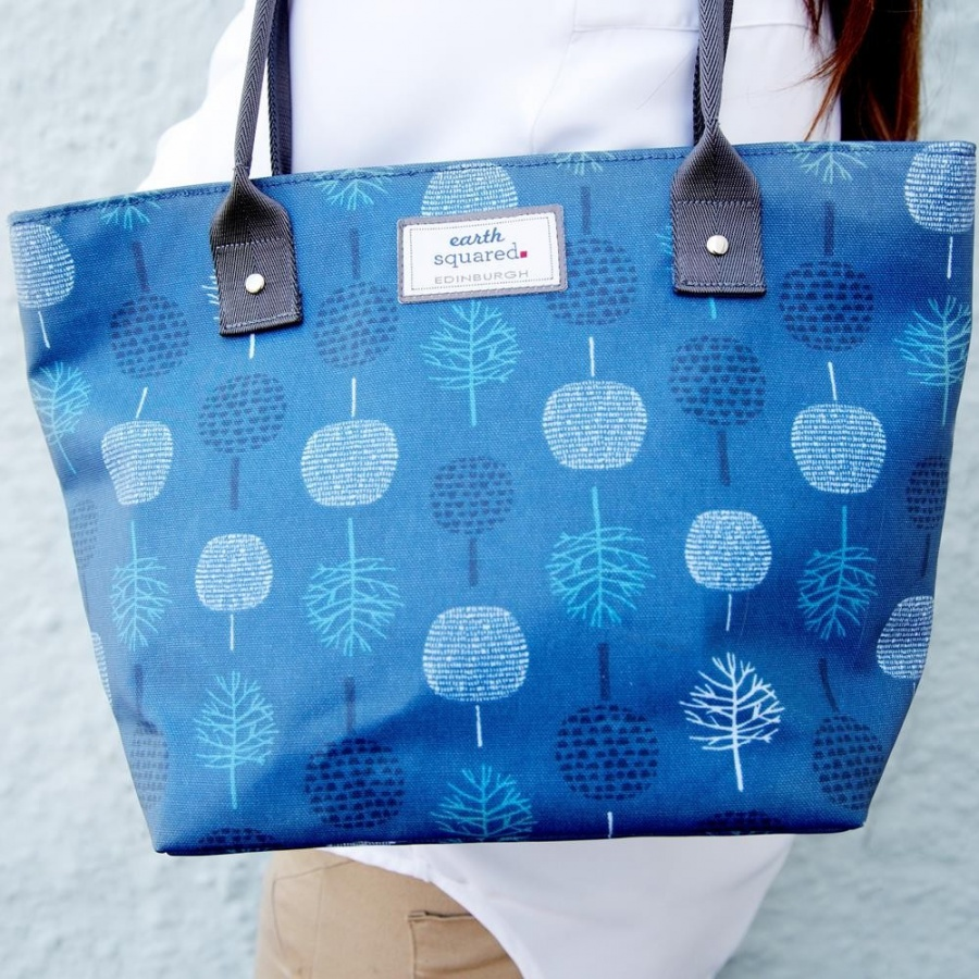 Teal Tree Oil Cloth Tote Blue Bag