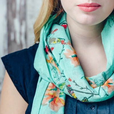 Cotton Butterfly And Bird Design Scarf