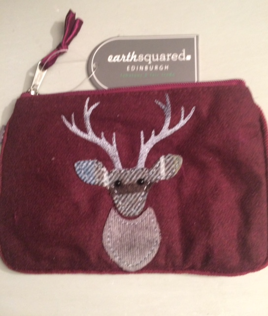 Duchshund And Deer Wool Purse (red). Free Postage And Gift Wrapping. An Earth Squared Quality Product.