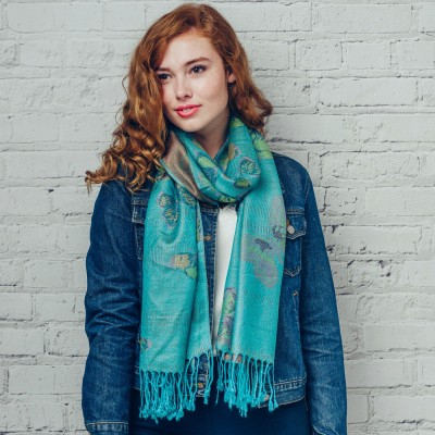 Beautiful Butterfly Woven Pashmina With Fringed Edging