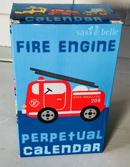Fire Engine Perpetual Calendar Block - Lovely Gift For Children