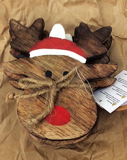 Vintage Wood Reindeer Set Of Coasters (4)