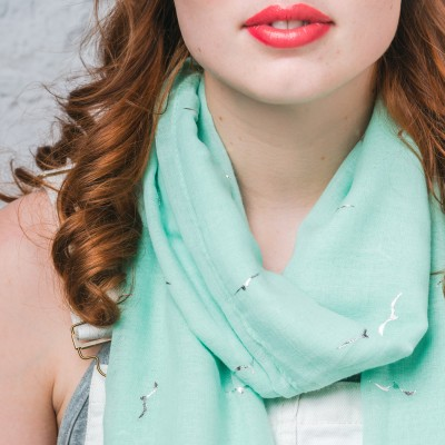 Sensational Seagull Light Green Foil Scarf
