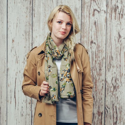 Green And Beige Floral Scarf
