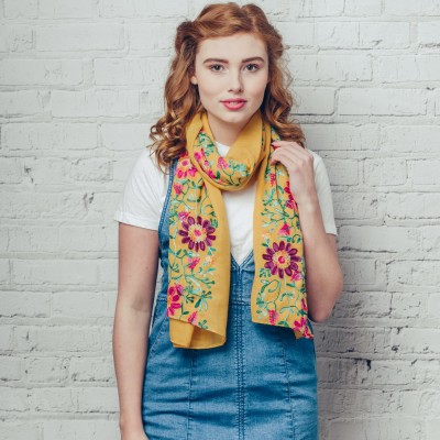 Floral Embroidered Yellow Scarf With Large Pink Flower Design