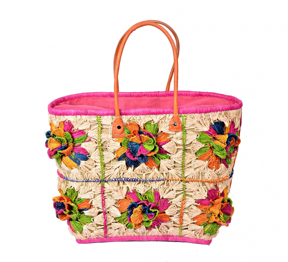 Colourful Crocheted Handmade Madaraff Big Basket