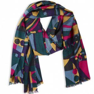 Beautiful Luxury Wool Scarf Stunning Colours Similar To Geo Jewel Design