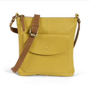 Mustard Soft Leather Cross Body Bag With Free Postage And Gift Wrapping