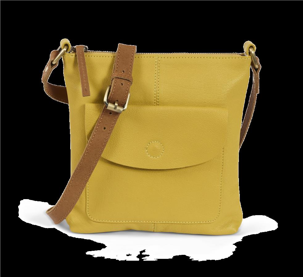 Mustard Leather Cross Body Bag