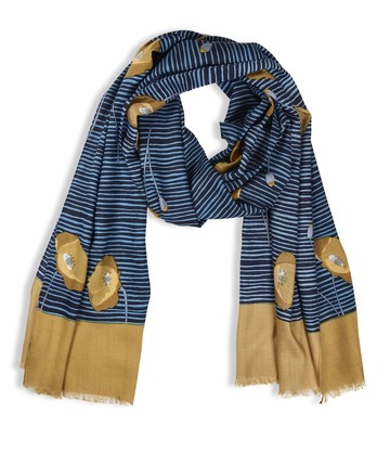 Mustard And Blue Poppy Scarf