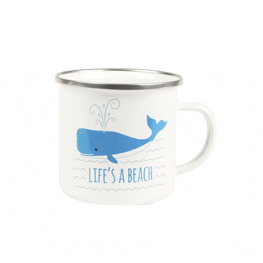 'Whale – Life's A Beach ' Nautical  Enamel Mug
