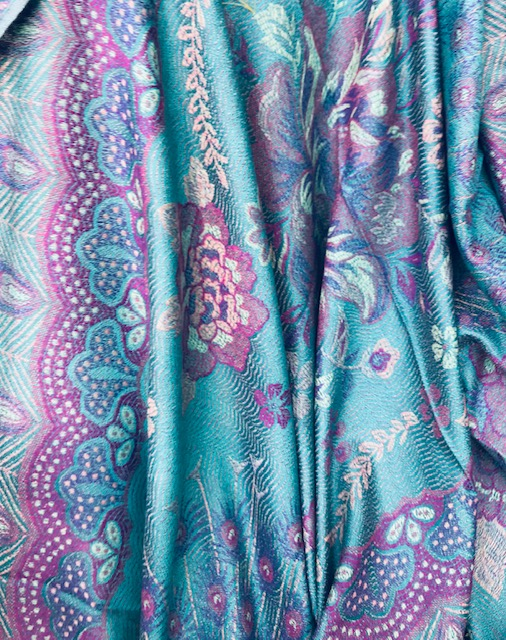 Turquiose Large Flower Woven Pashmina With Tassels