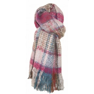 Soft And Warm Pink Tartan Scarf. Free Postage And Gift Wrapping