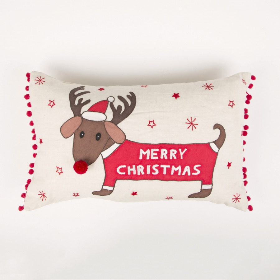 MERRY DACHSHUND WITH ANTLERS CUSHION WITH INNER