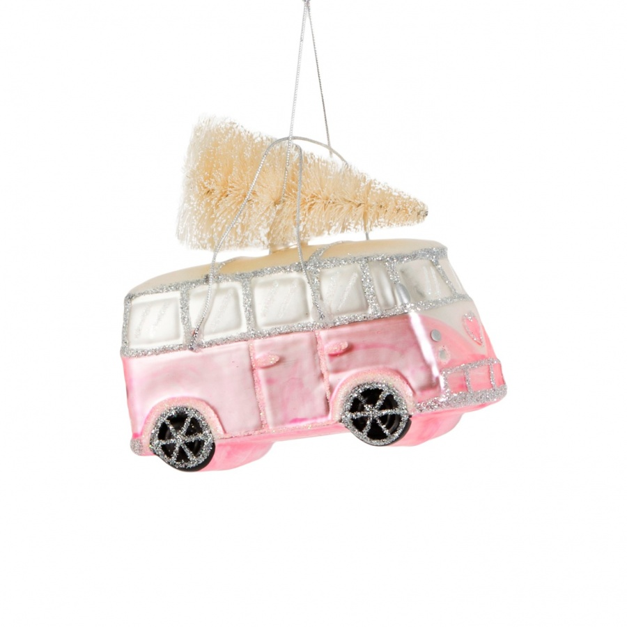 Christmas Pink Camper Van Tree Decoration With Free Postage