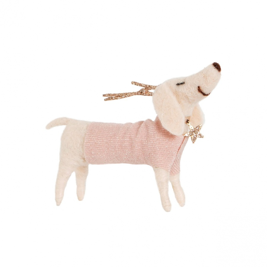 Daisy The Dachshund Dog With Antlers Christmas Decoration