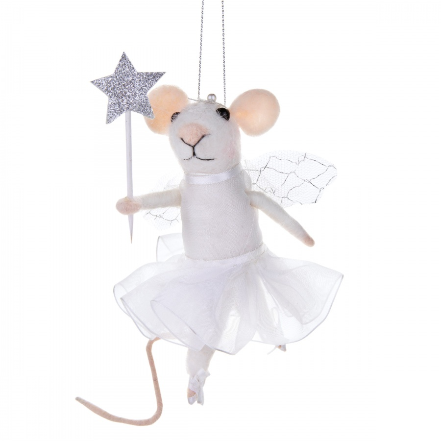 DANCING MOLLY MOUSE WITH STAR WAND FELT HANGING DECORATION