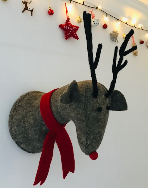 E Reindeer With Red Scarf! Rudi Needs A Home!