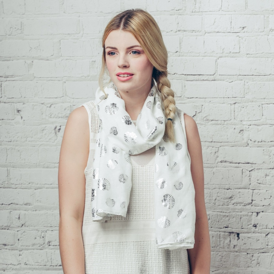 Sea Shell Foil White Scarf