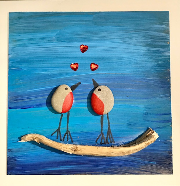 Robins In Love Pebble Art In White Frame.